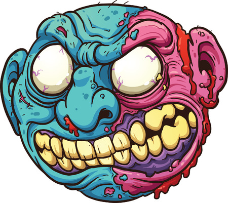 Zombie head. Vector clip art illustration with simple gradients. All in a single layer.