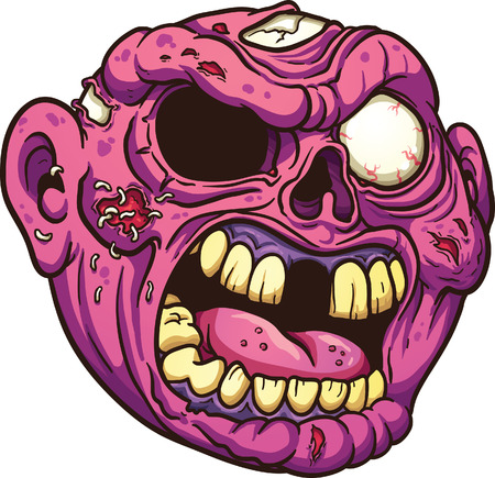 Yelling cartoon zombie. Vector clip art illustration with simple gradients. All in a single layer. Illustration