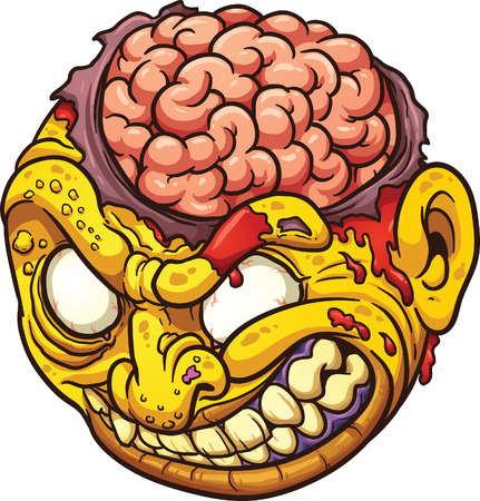 Cartoon zombie head. Vector clip art illustration with simple gradients. All in a single layer Illustration