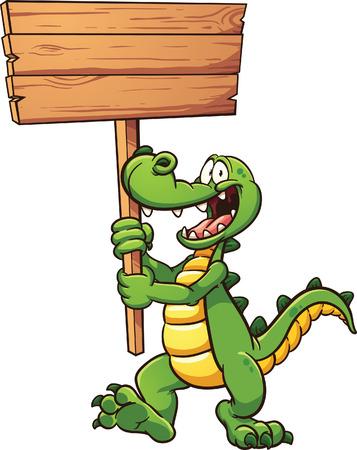cocodrilo: cocodrilo de dibujos animados con un cartel de madera. Vector ilustraci�n de im�genes predise�adas con gradientes simples. Todo en una sola capa.