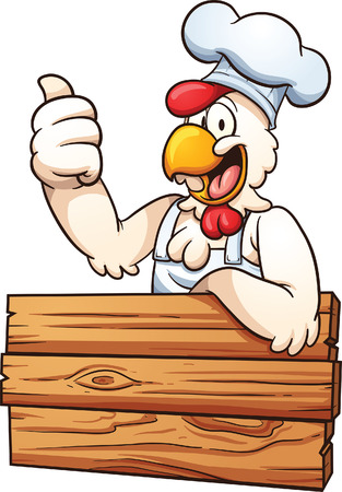 cartoon: Cartoon chicken chef with a wooden sign