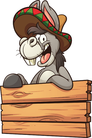 Cartoon Mexican donkey with wooden sign. Vector clip art illustration with simple gradients. All in a single layer.