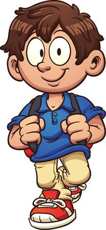 niño con mochila: Cartoon niño de la escuela a pie.