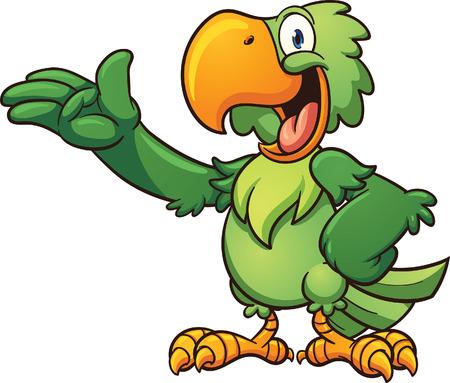 pajaro caricatura: Loro verde de dibujos animados. Vector de imágenes prediseñadas ilustración con gradientes simples. Cada parte en una capa separada.