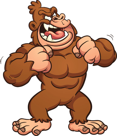 banging: Cartoon gorilla banging its chest. Vector clip art illustration with simple gradients. All in a single layer.