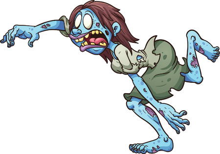 Running cartoon zombie woman. Vector clip art illustration with simple gradients. All in a single layer.