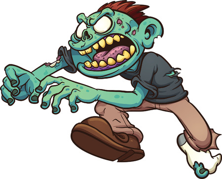 angry boy: Running cartoon zombie. Illustration