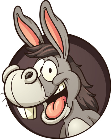 Cartoon donkey coming out of hole. Vector clip art illustration with simple gradients. All in a single layer. Vectores