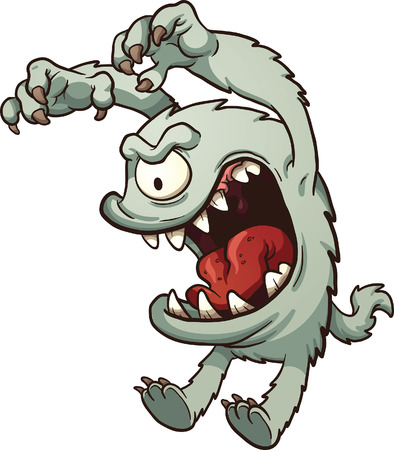 Cartoon monster. Vector clip art illustration with simple gradients. All in a single layer. Stock Illustratie