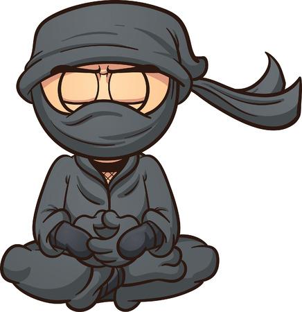 Meditando ninja de la historieta. Vector de imágenes prediseñadas ilustración con gradientes simples. Ninja y la ropa de la máscara están en capas separadas.