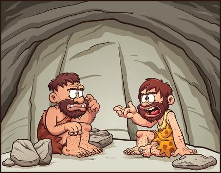 Hombres de las cavernas de la historieta conversando. Vector de imágenes prediseñadas ilustración con gradientes simples. Cada elemento en una capa separada. Ilustración de vector