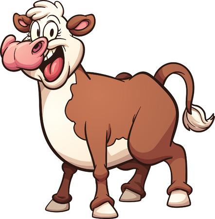 Happy cartoon koe. Vector illustraties illustratie met eenvoudig verlopen. Alle in een enkele laag.