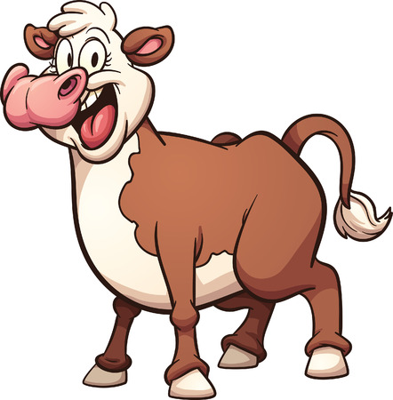 cartoon cow: Vaca feliz de dibujos animados. Vector de im�genes predise�adas ilustraci�n con gradientes simples. Todo en una sola capa. Vectores