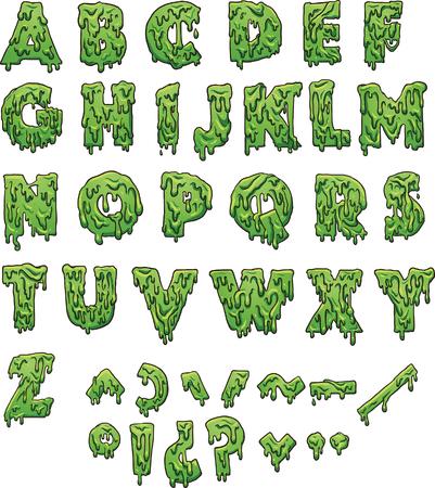 緑のスライムの手紙。シンプルなグラデーション ベクター クリップ アート イラスト。別のレイヤー上の各要素。