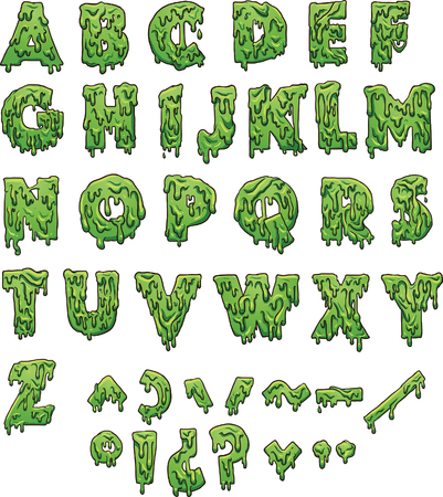 Green slime letters. Vector clip art illustration with simple gradients. Each element on a separate layer.