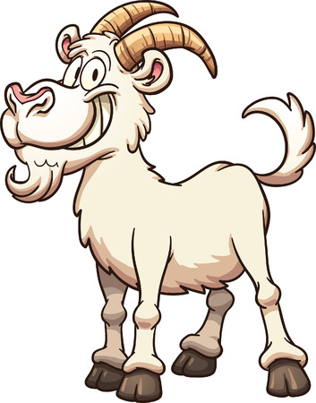 goats: Happy cartoon goat. Vector clip art illustration with simple gradients. All in a single layer.