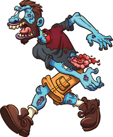vector clip art: Angry cartoon zombie. Vector clip art illustration with simple gradients. All in a single layer.