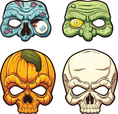 brujas caricatura: Máscaras de Halloween. Vector de imágenes prediseñadas ilustración con gradientes simples. Cada uno en una capa separada. Vectores