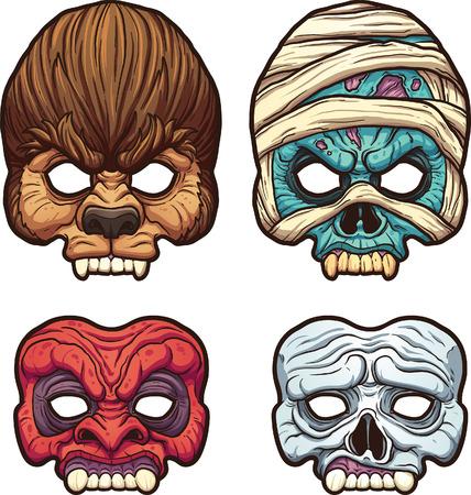 Halloween maskers. Vector illustraties illustratie met eenvoudige hellingen. Elk op een afzonderlijke laag. Stock Illustratie