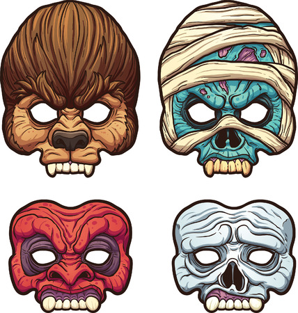 Halloween masks. Vector clip art illustration with simple gradients. Each on a separate layer.