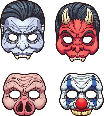 payasos caricatura: Máscaras de Halloween. Vector de imágenes prediseñadas ilustración con gradientes simples. Cada uno en una capa separada. Vectores
