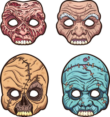 cartoon man: Halloween masks. Vector clip art illustration with simple gradients. Each on a separate layer.