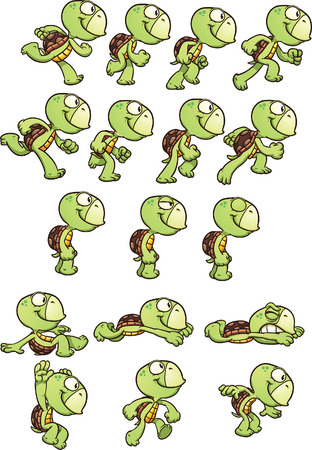 Cartoon turtle sprites ready for animation. Vector clip art illustration with simple gradients. Each element on a separate layer. Ilustracja
