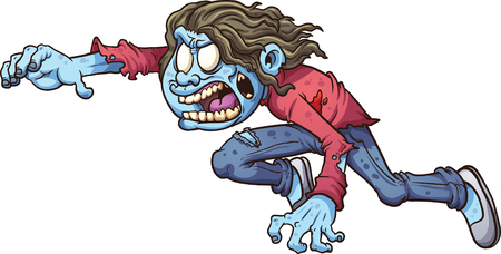 Cartoon zombie girl. Vector clip art illustration with simple gradients. All in a single layer.