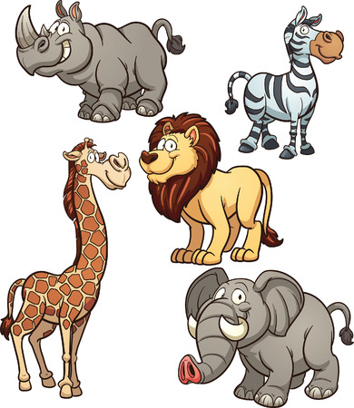 Cartoon African animals. Vector clip art illustration with simple gradients. Each on a separate layer.