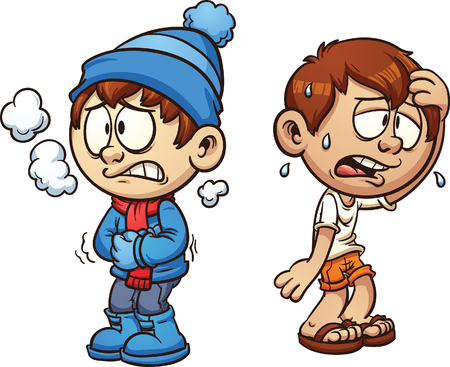 cold: Hot and cold boy. Vector clip art illustration with simple gradients. Each on a separate layer.