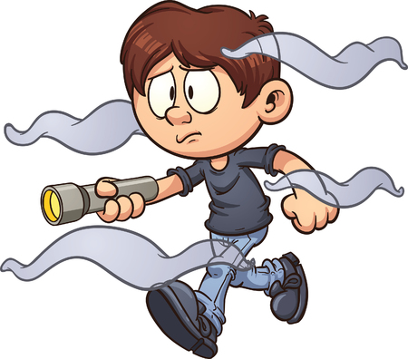 Scared cartoon boy with flashlight walking in the fog. Vector clip art illustration with simple gradients. Fog and boy on separate layer. Иллюстрация