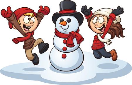 Cartoon-Kinder einen Schneemann bauen. Vektorgrafik Illustration mit einfachen Farbverläufen. Jedes Element auf einer separaten Ebene. Vektorgrafik