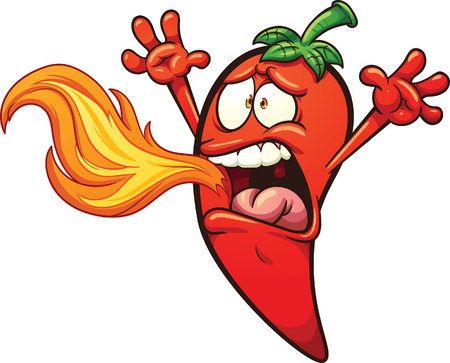 Spicy chili Pepper breathing fire. Vector clip art illustration with simple gradients. Pepper and fire on separate layers. Banco de Imagens - 46700896