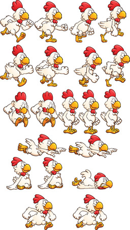 cartoon chicken: Running chicken sprites. Illustration
