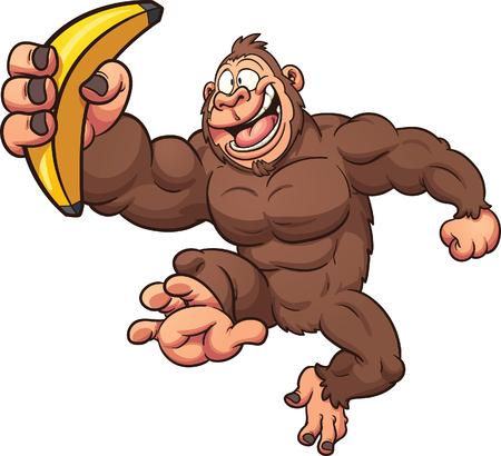 platano caricatura: Gorila de la historieta con el plátano. Vector de imágenes prediseñadas ilustración con gradientes simples. Todo en una sola capa.