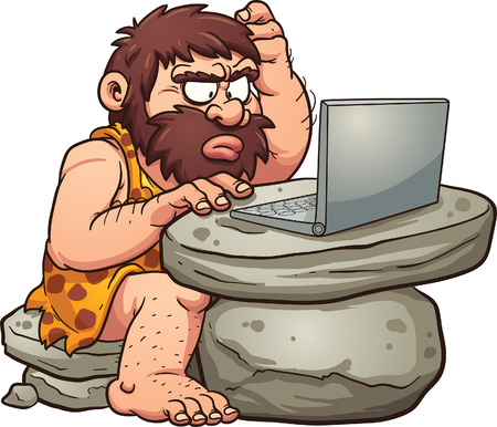 Cartoon caveman using a laptop.
