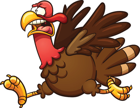 Scared cartoon turkey. Vector clip art illustration with simple gradients. Elements on separate layers. Vettoriali