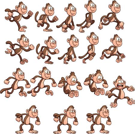 만화 원숭이 스프라이트. 간단한 그라데이션으로 벡터 클립 아트 그림입니다. 별도의 레이어에 각 요소입니다.