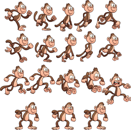 Cartoon monkey sprites. Vector clip art illustration with simple gradients. Each element on a separate layer. Vectores