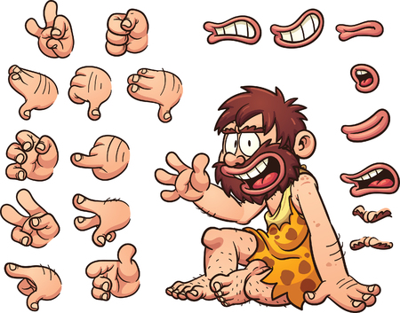 Cartoon caveman ready for animation. The caveman is sitting, but right hand and facial features, eyes, mouth and brow come with different poses.