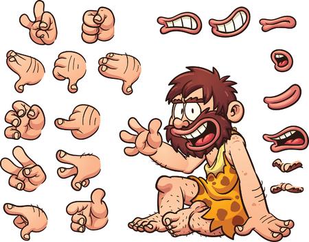 ojos caricatura: Hombre de las cavernas de la historieta listo para la animaci�n. El hombre de las cavernas est� sentado, pero las caracter�sticas de la mano y la cara derecha, los ojos, la boca y la frente vienen con diferentes poses. Vectores