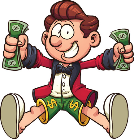 exciting: Happy cartoon millionaire. Vector clip art illustration with simple gradients. All in a single layer.