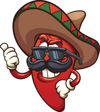 Kühle mexikanische Chili-Pfeffer. Vektorgrafik Illustration mit einfachen Farbverläufen. Charakter und Schatten auf separaten Ebenen. Vektorgrafik