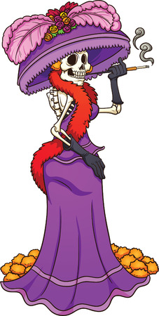 Mexican Catrina with a purple dress. Vector clip art illustration with simple gradients. All in a single layer.
