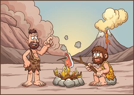 hombre prehistorico: Un par de hombres de las cavernas en discusiones sobre un fuego. Vector de imágenes prediseñadas ilustración con gradientes simples. Hombres de las cavernas y el fondo en capas separadas.