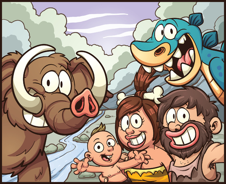 family: Caveman family taking a selfie. Vector clip art illustration with simple gradients. Some elements on separate layers for easy editing.