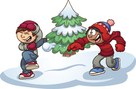 Kids throwing snowballs. Vector clip art illustration with simple gradients. Some elements are on separate layers for easy editing.