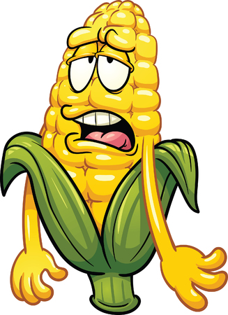 Bored cartoon corn. Vector clip art illustration with simple gradients. All in a single layer Ilustração