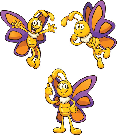 Cartoon butterfly in different poses. Vector clip art illustration with simple gradients. Each on a separate layer. Vettoriali