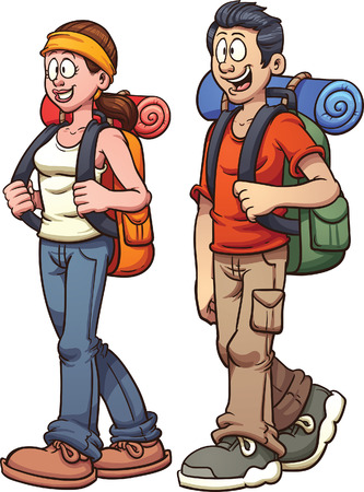 Young couple walking. Vector clip art illustration with simple gradients. Each on a separate layer.